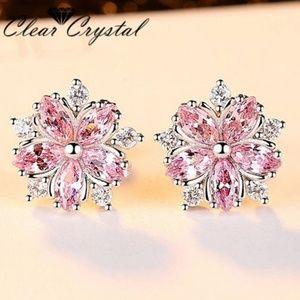 Pink White CZ Cubic Zircon Flower Stud White Gold